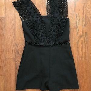 Fun black lace romper!
